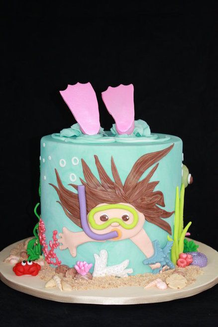 Under the Sea theme. This is so cool! I love how the flippers are stocking up out of the top. Scuba diving cake