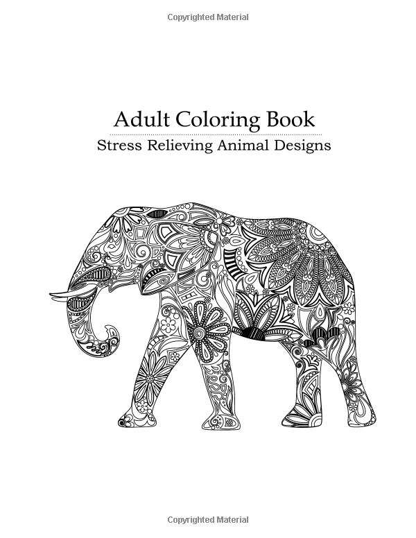Adult Coloring Book Stress Relieving Animal Designs Blue