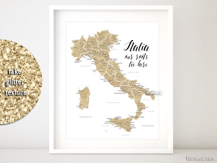16x20 Printable map of Italy, gold Italy map with cities, Italia map, gold glitter Italy map, nursery map, our roots lie here - map054 010 by blursbyaiShop on Etsy https://www.etsy.com/listing/237970737/16x20-printable-map-of-italy-gold-italy