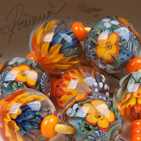 "Romana.Lampwork.Beads - ""Planet of flowers"" #LampworkBeads"