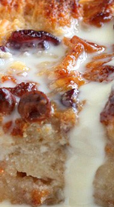 White Chocolate Cranberry Bread Pudding with Rum Crème Anglaise