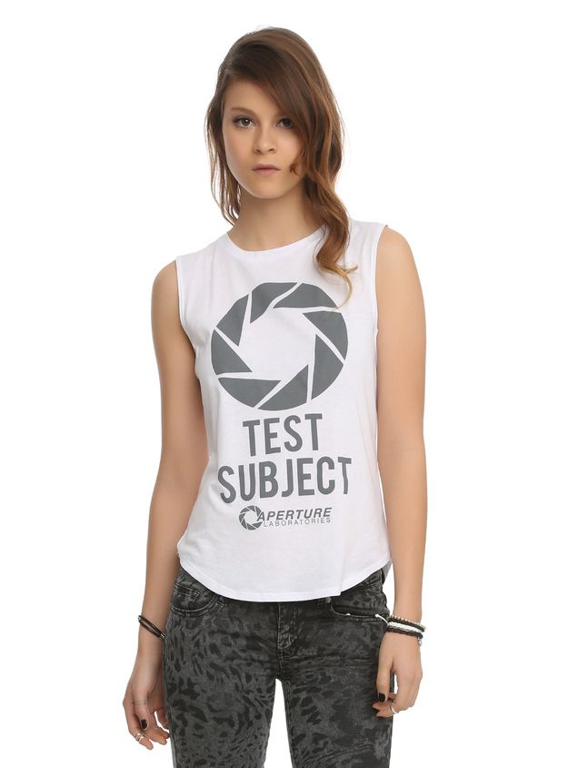 This minimal Portal Aperture Logo tank: | Community Post: 28 Wardrobe Essentials For Female Gamers