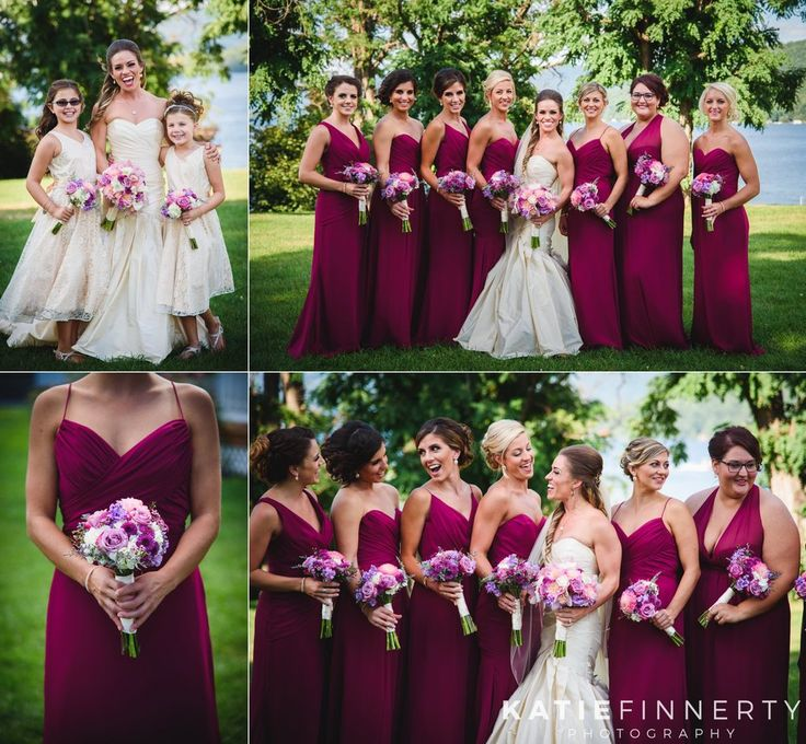Love these vibrant wedding bouquets and magenta bridesmaids dresses! Photos by Rochester, NY wedding photographer Katie Finnerty Photography | http://www.katiefinnertyphotography.com/blog/2015.8.28.lake-george-wedding-marisa-craig