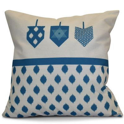 "The Holiday Aisle Hanukkah 2016 Decorative Holiday Geometric Throw Pillow Size: 16"" H x 16"" W x 2"" D, Color: Teal"