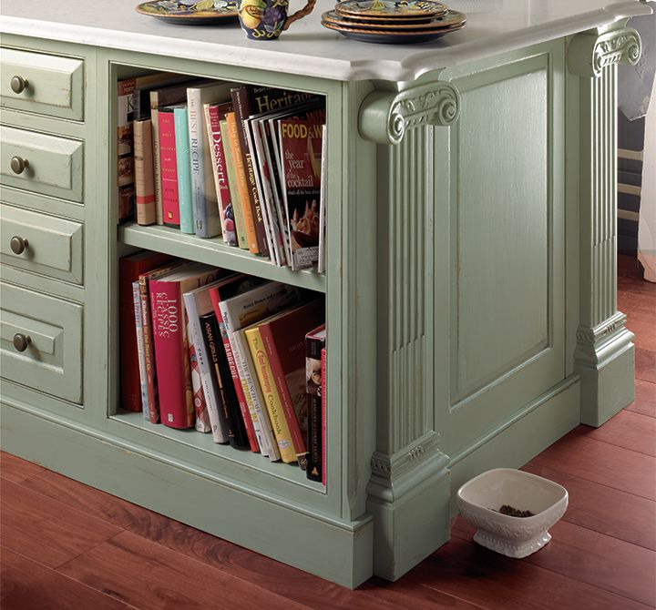 Traditional Kitchen Cabinets With Creative Island Storage, Perfect For All  Your Cookbooks