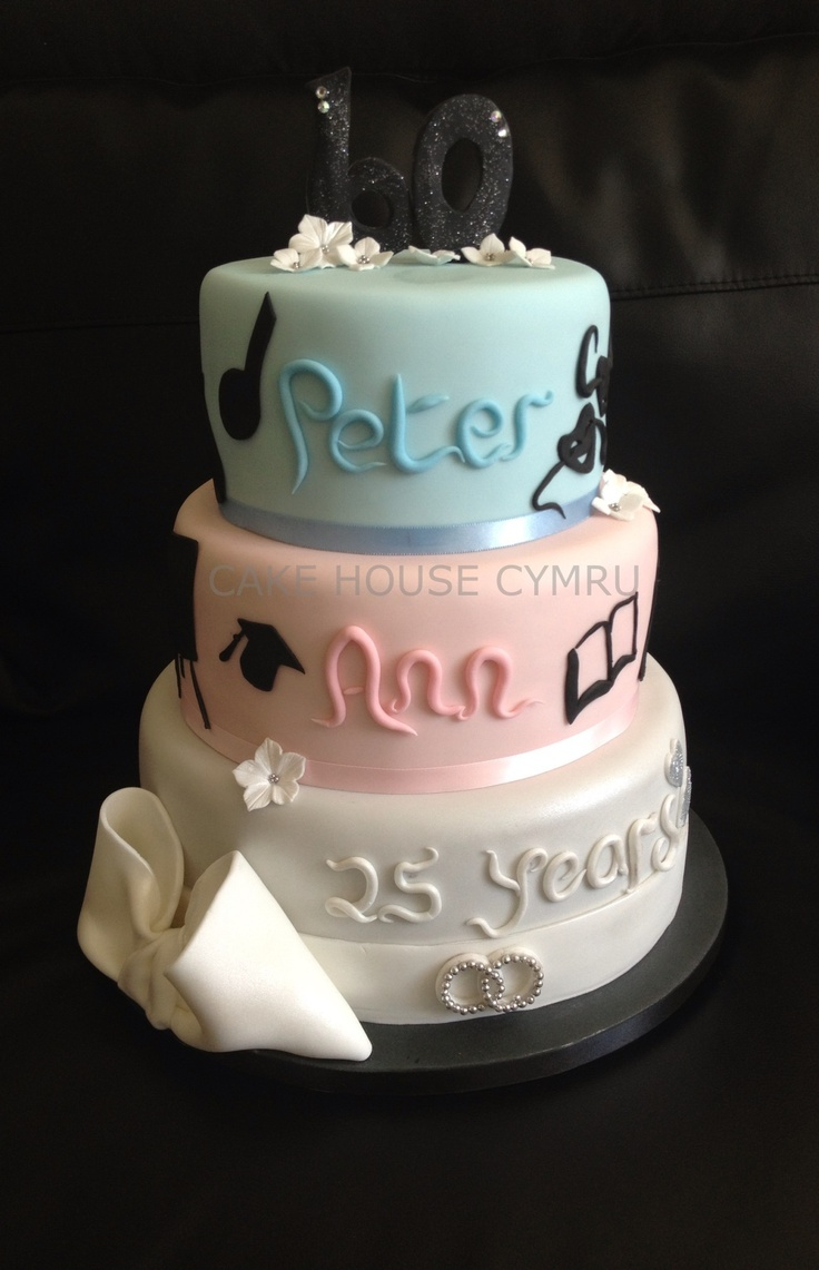 Three tier cake for a joint #25th Wedding Anniversary and #60th Birthday celebration