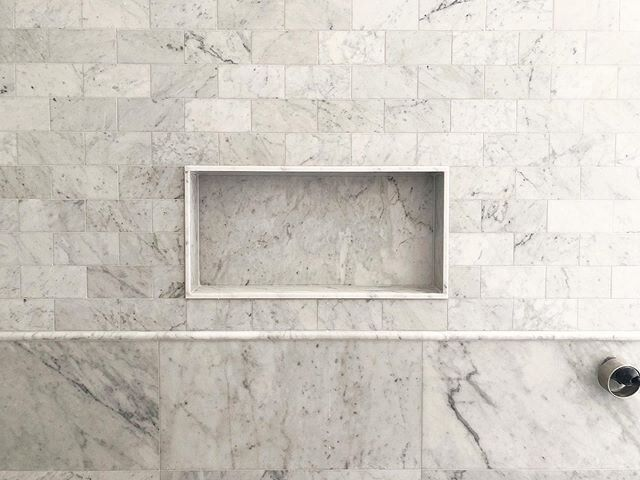 Sneak Peek Of The Ensuite Details At Marchtwicetocremorne Carrara Marble Used In Different Ways In This Oversized Shower Ar In 2020 Carrara Marble Carrara Ensuite