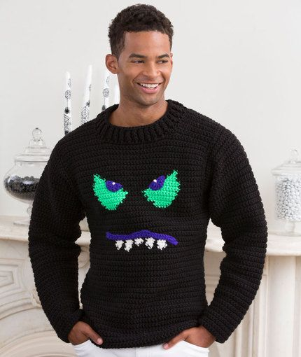 Monster Face Sweater Free Crochet Pattern from Red Heart Yarns