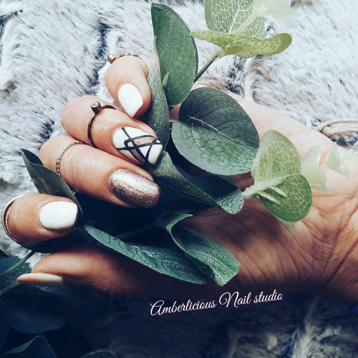 Gel overlay. Aztec nail art. White nails. Trendy Nails
