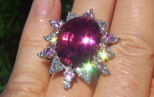 GIA immobiliare 25.64 ct VS1 Rubellite Tourmaline zaffiro rosa di diamanti in platino anello | eBay