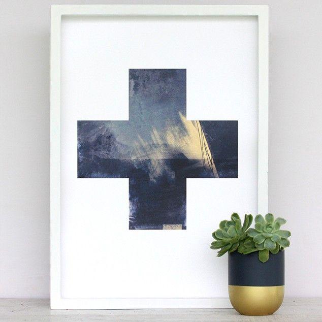 Large Metallic Golden Cross Art Print by Cloud 9 Creative