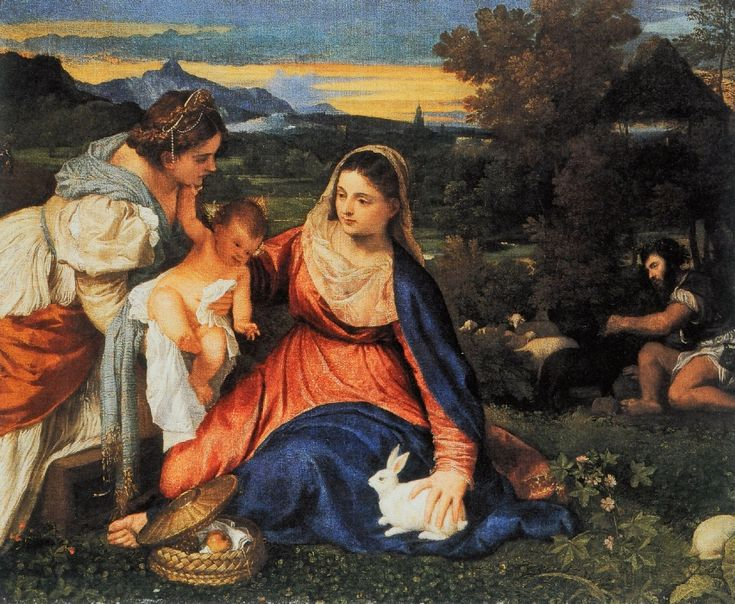 Vierge à l'Enfant dite « Vierge au lapin » Un voile de mélancolie recouvre l'ensemble des œuvres réalisées par Titien en 1530 et dans les années qui suivirent. La raison en est la mort de sa femme, Cecilia, survenue peu après avoir donné le jour à Lavinia, leur troisième enfant. le latin est je symbole de la fertilité