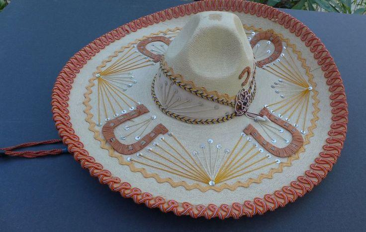 """Vintage Mexican cowboy charro sombrero hat 21"""" diam."""