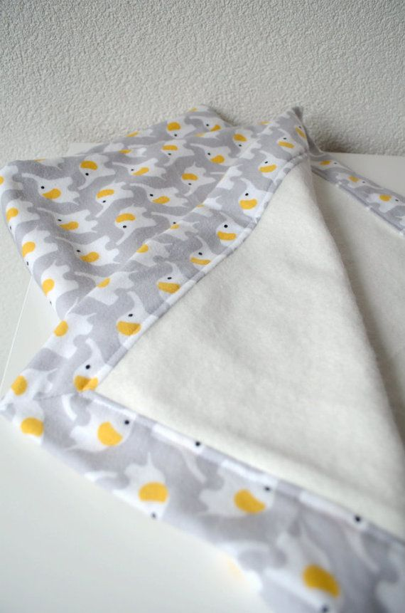 RESERVED for Baby Dalloro - Organic Flannel Baby Blanket - White and Yellow Elephants on Gray