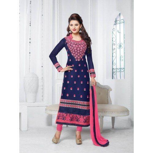 Urwashi Routela Georgette Blue Semi Stitched Salwar suits