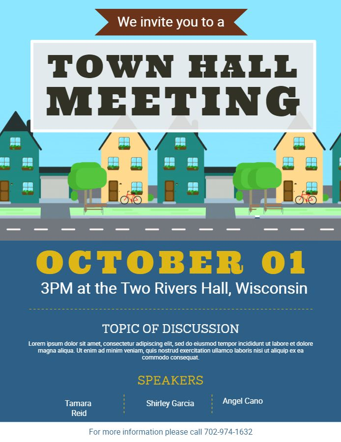 town hall community meeting announcement flyer poster template