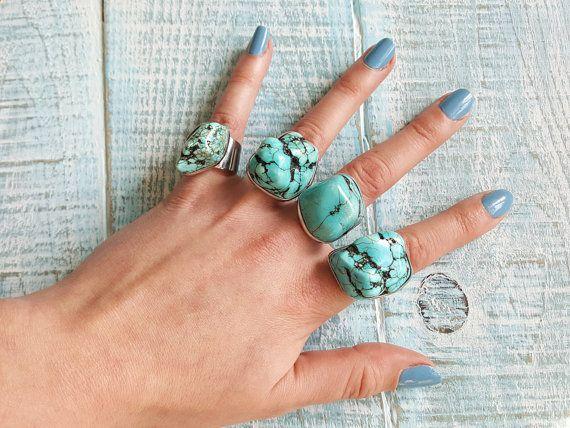 Large turquoise rings. Turquoise stone ring. by MyBohoLand on Etsy