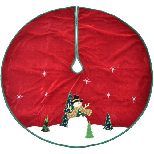 48 Trimming Traditions Red With Snowman Traditional Christmas Tree Skirt