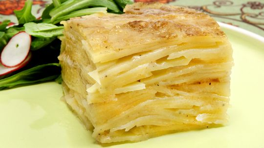 Parmesan Potato Gratin - Recipes - Best Recipes Ever - Here's an elegant, light variation on the usual creamy scalloped potatoes. The high starch content of Yukon Gold potatoes helps the slices stay together.