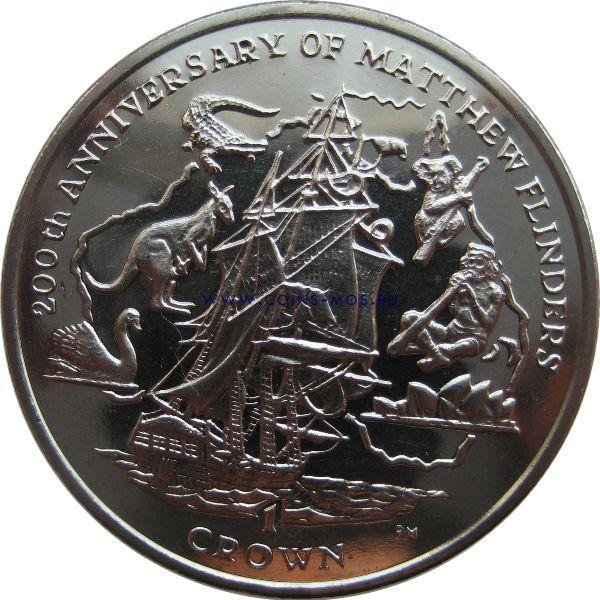 Остров Мэн. 200-летие Капитана Мэтью Флиндерса  1 крона 2014 г.