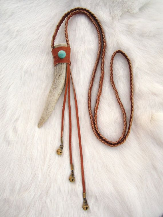 Spirit of Fauna - Deer Antler Necklace. Kingman Turquoise.