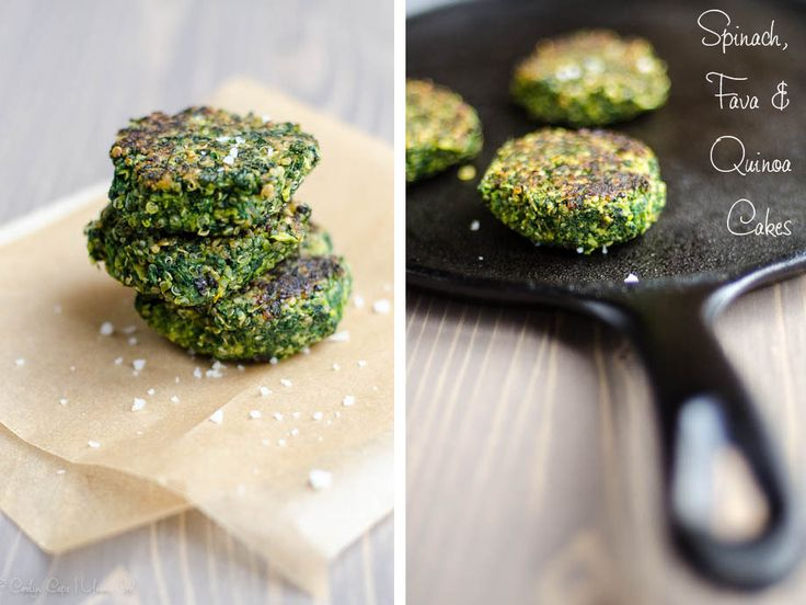 Spinach, Fava Bean (Broadbean) and Quinoa Cakes