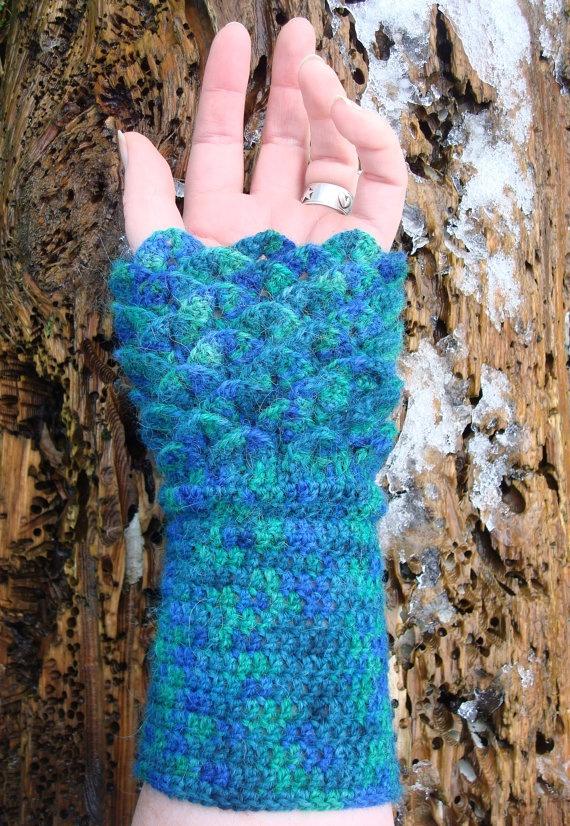 Crocodile Stitch Crochet Wrist Warmers Alpaca Blend. $22.00, via Etsy.