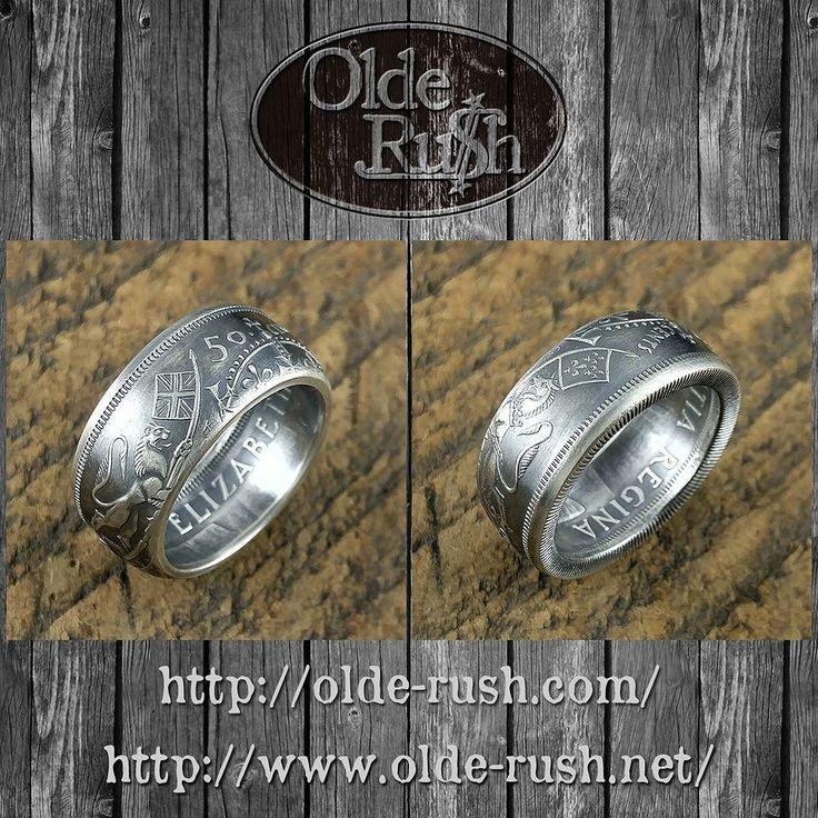 CANADA 50SENTS RING [SIZE:JP16]  1938-1958年の間に発行されていたカナダの50セントはイギリス国章のデザインでしてリングにしても王冠ライオンユニコーンが残されます  #coinring #coinjewelry #handmade #silversmith #silvercoin #50sent #silveraccessories #canada #uk #lion #unicorn #crown #floral
