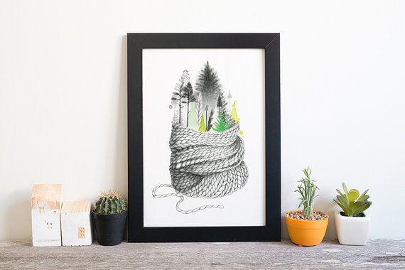 illustration hivernale 5 x 7 | art Aquarelle | illustration hivernale Noël | Hiver Forêt Noël | illustration Québec | Dessin crayon graphite