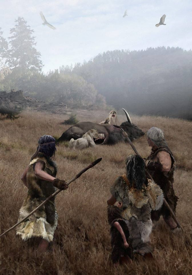 Velizar Simeonovski - A group of human hunters discovers a pair of Smilodon californicus with their prey, a Bison latifrons.