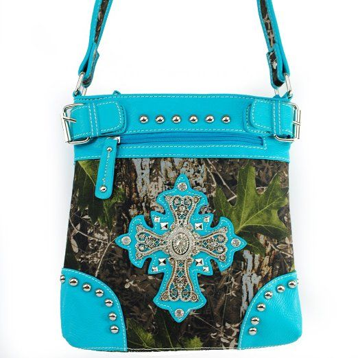 Amazon.com: New Arrival Western Handbag Camouflage Rhinestone Gemstone Round Rivet Studded Cross and Zipper Detailed Messanger Bag / Crossbody Handbag Purse in Camo and Turquoise Blue: Clothing