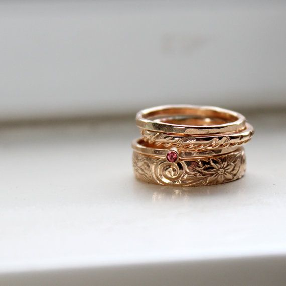 Gold Stacking Rings with Rhodolite Garnet  Birthstone by tinahdee