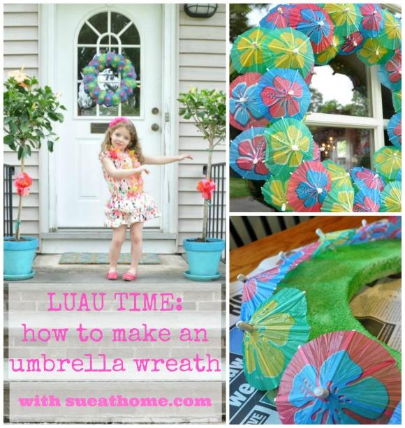 Luau umbrella wreath. Parasol wreath. Luau decorations.