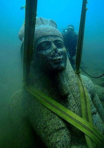 Underwater archeologist Frank Goddio's discovery of lost Egyptian city of Thonis-Heraclion at the bottom of Abu Qir Bay in the Mediterranean Sea.  Founded approx 8th century BCE, sunken approx 8th century AD
