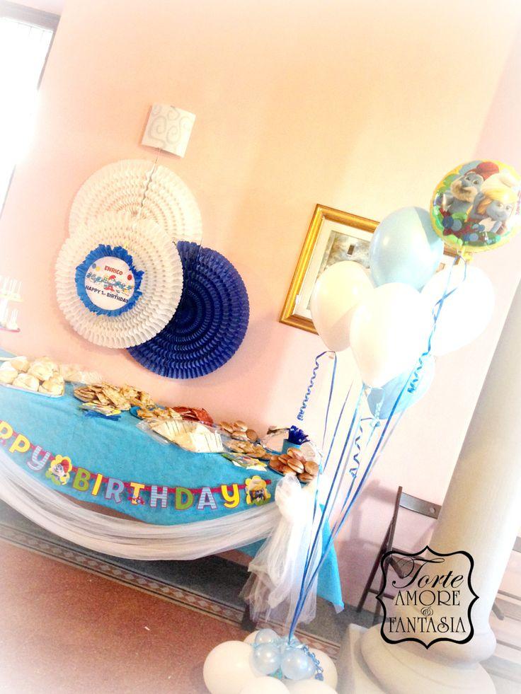 #Party a #Tema# #Personalizzati #Torte #Decorate #Smurfs #Party #Puffy #decorazione #Candy #Bar www.torteamorefantasia.com