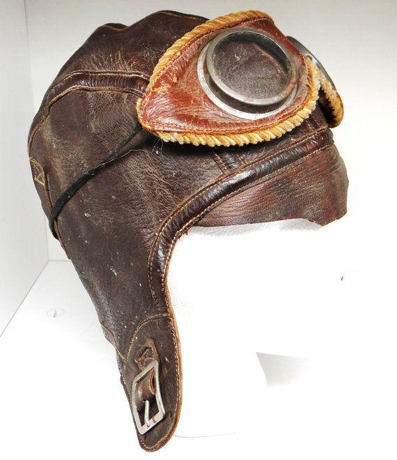 Vintage Aviator Helmet Wwii Leather Helmet Motorcycle
