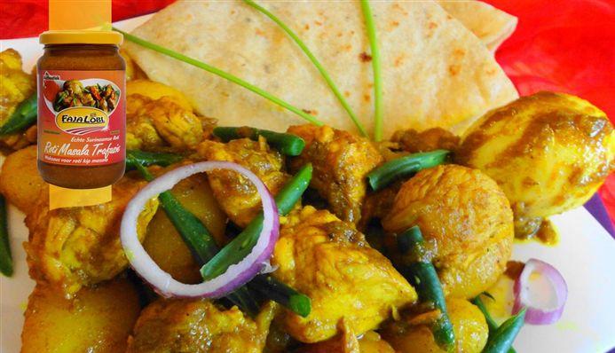Surinaams eten – Surinaamse roti met vlees, kousenband en hardgekookte eieren in masala