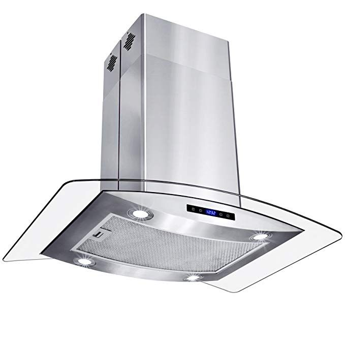 Akdy 30 Island Mount Stainless Steel Tempered Glass Touch Panel Kitchen Range Hood Cooking Fan Review Range Hood Glass Range Hood Kitchen Range Hood