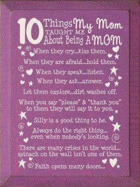 10 things on Motherhood ... mother mom child toddler kids poster art