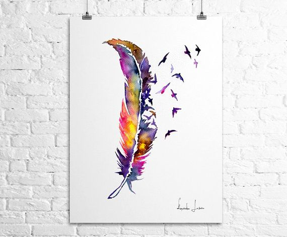 Birds Feather Art Print - Watercolor Painting - Colorful Fine Art
