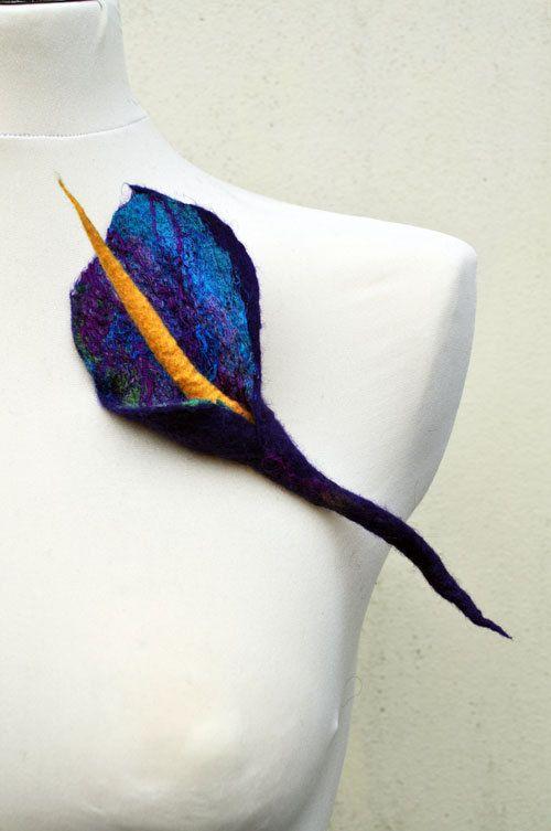 Brooch, flower, gift, felt, felted, wool, merino wool, silk, yellow, blue, purple