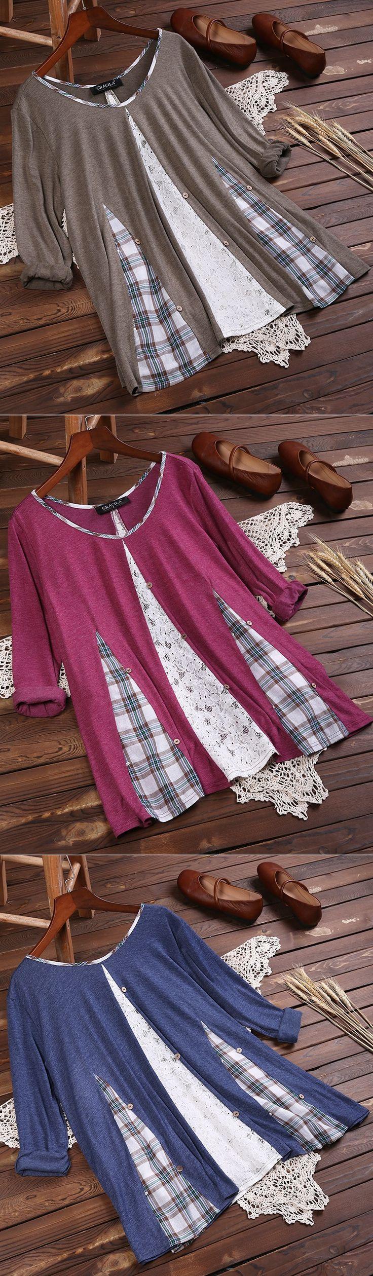 47% OFF! US$25.99 Plus Size Vintage Plaid Lace Patchwork Long Sleeve Blouses For Women. SHOP NOW!