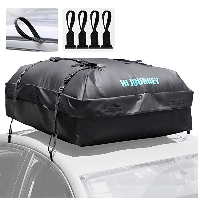 rabbitgoo Rooftop Cargo Carrier Waterproof Car Roof Top Cargo Bag with Heavy Duty Straps Soft Shell Luggage Storage Bag for Vehicles with//Without Roof Racks Large Capacity 15 Cubic Feet