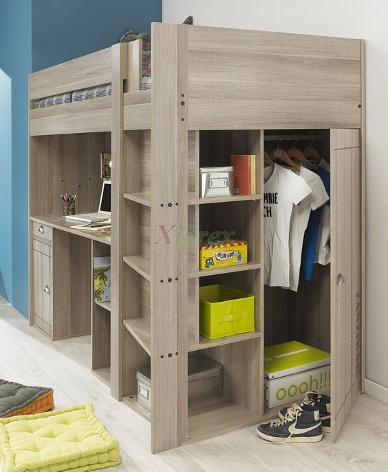 Gami Largo Loft Beds for Teens Canada with Desk & Closet | Xiorex Gami Largo Teen Loft Beds Canada with Desk and Closet are new designed awesome loft beds for teenage girls and boys that are made in France by Gautier Furniture. They include a European single bunk bed with perforated panel bedbase, desk, closet, bookshelf, stairs, cupboard, and drawer.: