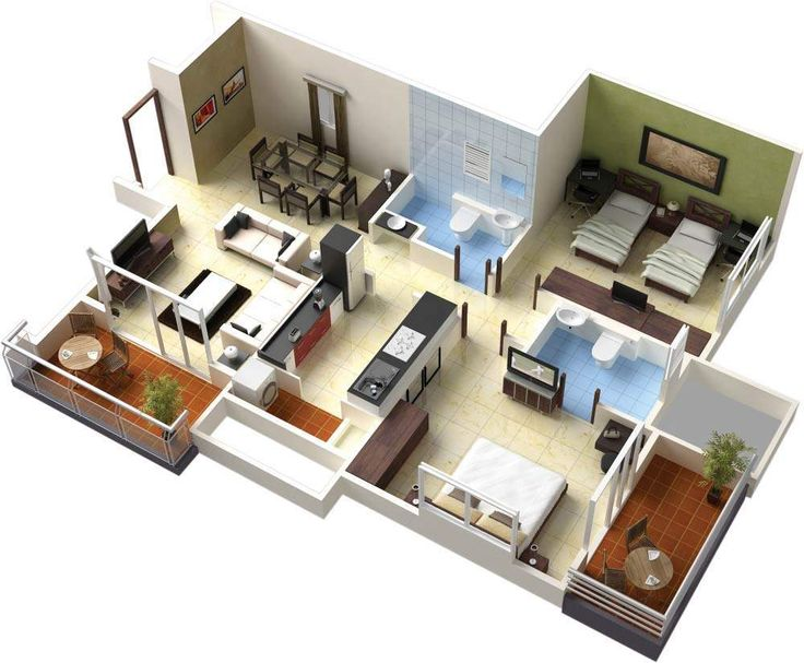 98 best 3D Floor Plans images on Pinterest | Layouts, Apartments ...