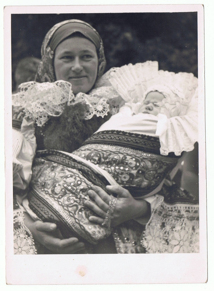 Vintage Photograph of Czech Mother and Baby in Ethnic Folk Costumes, Baptism.