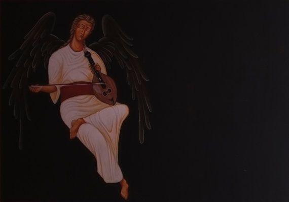 angel plays Cretan Lyra by AmErgon on Etsy, $2000.00