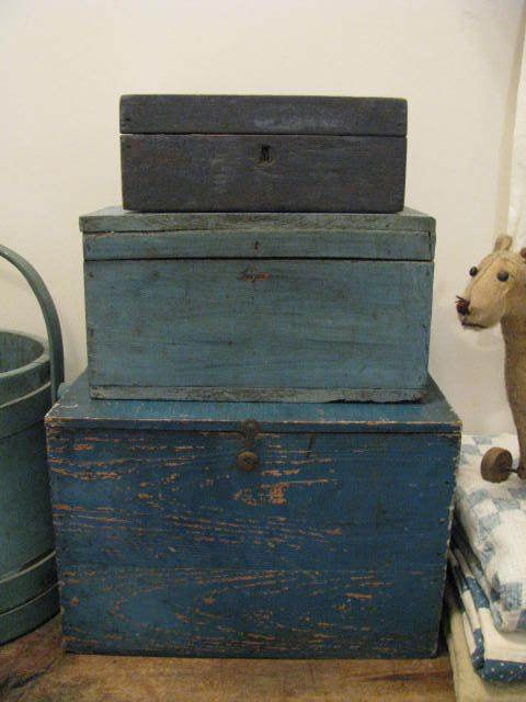 early stacked hinged boxes in paint...