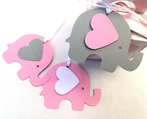 Rosa y gris elefante Baby Shower regalo etiquetas. Para los