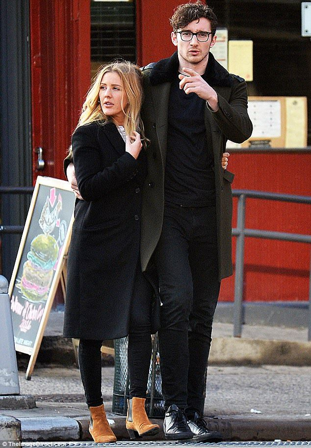 New flame: Things appear to be hotting up between Ellie Goulding and Team GB rower Caspar Jopling, as the pair were spotted enjoying a romantic stroll in New York on Tuesday